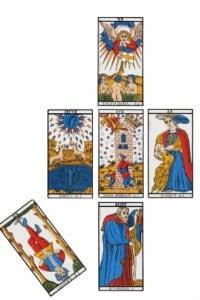 Tirada tarot de 5 cartas o cruz